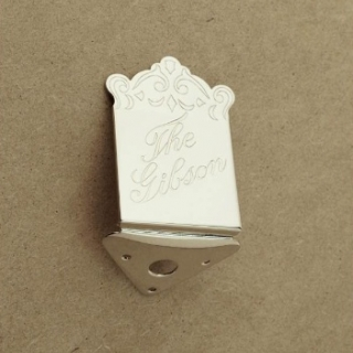 37G - Original Gibson mandolin tailpiece - nickel plated cover and base